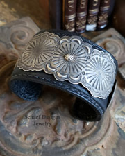 Sterling Silver Concho Leather Cuff Bracelet | Schaef Designs | Arizona
