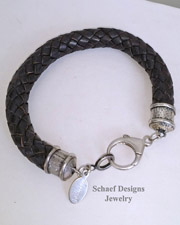 Schaef Designs Brown Braided Leather Cord & Sterling Silver Stacking UNISEX Bracelet| New Mexico