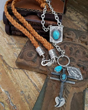 Schaef Designs Rosary style necklace of braided deerskin chain cross & turquoise | Arizona