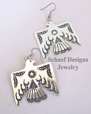 Vince Platero Sterling Silver Hand Stamped Thunderbird Wire Earrings | New Mexico