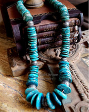 Schaef Designs Large Turquoise Disk & Sterling Silver Southwestern Necklace | New Mexico