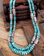 Schaef Designs Light Blue Hubei Turquoise & Sterling Silver Tube Bead Necklace Set | New Mexico