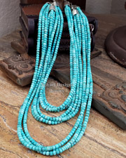 Schaef Designs 60 Inch LONG Campitos Turquoise & Sterling Silver Necklace | New Mexico