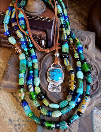 Schaef Designs long turquoise trade bead ethnic layering necklace | Arizona