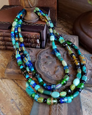 Schaef Designs 60 Inch Long Ethnic Trade Bead & Turquoise Wrapping Necklace | New Mexico