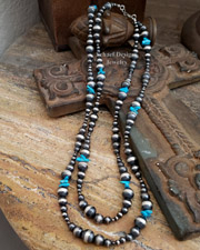 SIX Foot Long Turquoise & Sterling Silver Navajo Pearl Necklace | New Mexico