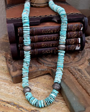 Schaef Designs Light Blue Turquoise Disk & Stamped Bench Sterling Silver Bead Necklace | New Mexico
