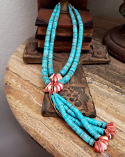 Lupe Lovato Turquoise Heishi & Spiny Oyster Necklaces with Jaclas SET | New Mexico