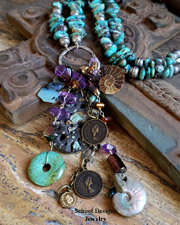 Schaef Designs Organic medicine woman opal, amethyst, ammonite, carved turquoise, coin necklace | New Mexico