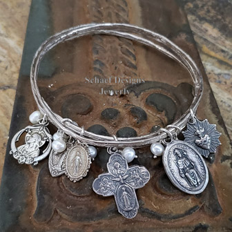Schaef Designs Sterling Silver Bangle Bracelets with Milagro Charms & white pearls | New Mexico