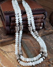 Schaef Designs Moonstone & Sterling Silver Tube Bead Necklace Set | New Mexico