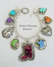Schaef Designs Turquoise Spiny Oyster Shell Gaspeite & Sterling Silver Southwestern Charm Bracelet Necklace| New Mexico