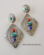 Old Pawn diamond concho & lapis turquoies coral multi stone post Earrings | New Mexico