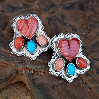 Multi spiny oyster shell & turquoise native american earrings | Schaef Designs | New Mexico