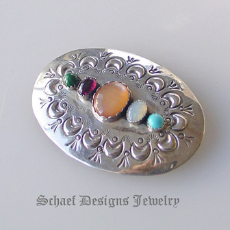 Multi stone & sterling silver handstamped sterling silver native american artist signed pin brooch | Schaef Designs artisan handcrafted Native American Southwestern Turquoise Jewelry | New Mexico