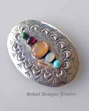 Multi stone & sterling silver handstamped sterling silver native american artist signed pin brooch | Schaef Designs | New Mexico