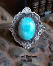 Schaef Designs Nacosari Turquoise & Hand Stamped Sterling Silver Southwestern Adjustable Ring | New Mexico
