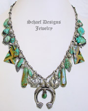 Schaef Designs Turquoise & Sterling Silver Naja Charm Necklace | New Mexico