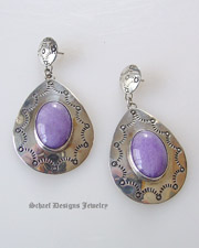 Nakai purple lavendar & sterling silver concho dangle post earrings | Schaef Designs | New Mexico