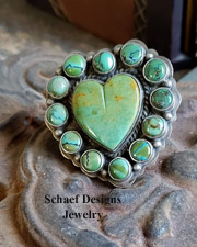 Native American Lacey artist signed green turquoise heart rings | Schaef Designs | New Mexico