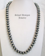 Schaef Designs Sterling Silver Heavy Navajo Pearl Necklace | New Mexico