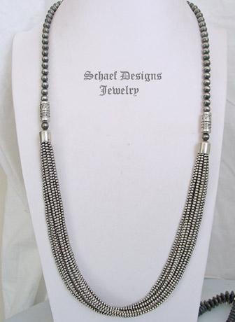 Schaef Designs Sterling Silver Long Navajo Pearls 10 Strand Southwestern Basics Necklace Set| New Mexico