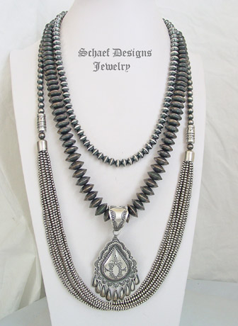 Schaef Designs Sterling Silver Long Navajo Pearls 10 Strand Southwestern Basics Necklace Set | New Mexico