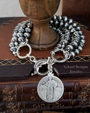 Schaef Designs Sterling Silver 5 Strand Navajo Pearl Bracelet w/ Standing Liberty Quarter Charm | Arizona