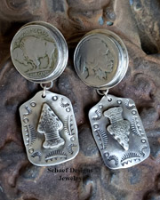 Schaef Designs Buffalo Nickel dog Tag POST Earrings | New Mexico