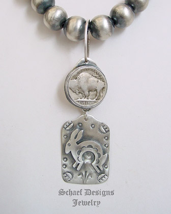 Schaef Designs Buffalo Nickel Fred Harvey style rabbit Tag pendant | New Mexico