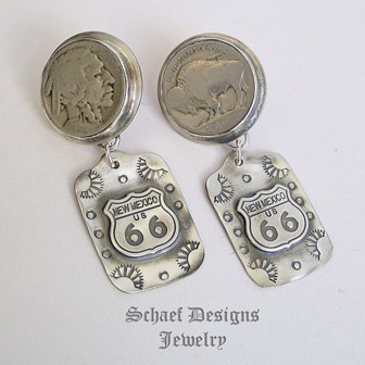 Schaef Designs Buffalo Nickel Fred Harvey style Route 66 Tag post earrings | New Mexico