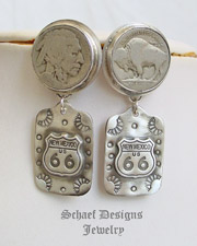 Schaef Designs Buffalo Nickel route 66 Tag POST Earrings | New Mexico