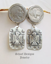 Schaef Designs Buffalo Nickel thunderbird Tag POST Earrings | New Mexico