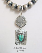 Schaef Designs Search Light Turqouise & Sterling Silver Charm POST Earrings | New Mexico