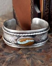 Schaef Designs Southwestern Number 8 Turquoise & Sterling Silver Cuff Stacking Bracelet | New Mexico