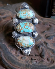 Schaef Designs Number 8 Turquoise & Sterling Silver 3 Stone Adjustable Southwestern Ring | Arizona