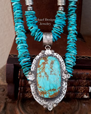 Schaef Designs LARGE Number 8 Turquoise Sterling Silver Southwestern Pendant | New Mexico