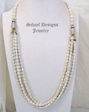 Schaef Designs Off White Agate & Sterling Silver Long Multi Strand Necklace | New Mexico