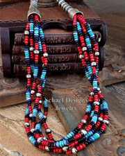 Schaef Designs Onyx Coral Lapis Turquoise Mixed Bead & Sterling Silver Bench Bead 5 Strand Necklace | New Mexico