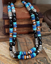 Schaef Designs Black Onyx Denim Lapis Orange Spiny Turquoise & Sterling Silver Southwestern Basics Tube Bead Necklace Set | New Mexico