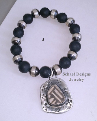 Schaef Designs Southwestern Basics Matte Black Onyx Navajo Pearl Pottery Shard Stacking Bracelets Stretch | New Mexico
