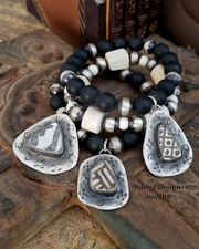 Schaef Designs Southwestern Basics Matte Onyx & Sterling Silver Navajo Pearl Stretch Stacking Bracelets | New Mexico