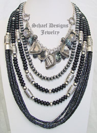 Schaef Designs Onyx Pottery Shard Sterling Silver Charm Necklace Pairings | New Mexico