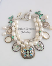 Schaef Designs Opal Topaz Pearl & Turquoise Charm Bracelet | New Mexico