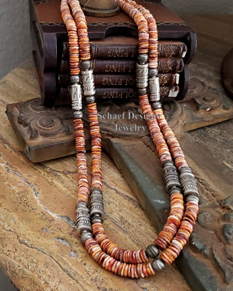 Schaef Designs orange spiny oyster shell & sterling silver Southwestern Basics necklace set | New Mexico