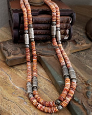 Schaef Designs Southwestern Basics Orange Spiny Oyster & Sterling Silver Necklace Set | New Mexico