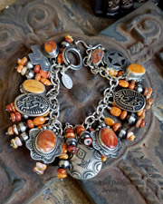 Schaef Designs Orange Spiny Oyster & Sterling Silver Southwestern Charm Bracelet Necklace | New Mexico