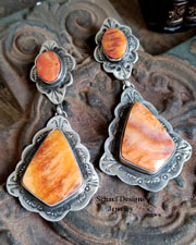 Schaef Designs LARGE Orange Spiny Oyster Shell & Stamped Sterling Silver Southwestern POST Earrings | New Mexico