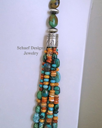 Schaef Designs Orange Spiny green Turquoise & Sterling Silver Navajo Pearl Saucer Bead 5 Strand Long Multi Necklace | New Mexico | New Mexico