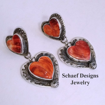 Schaef Designs Orange spiny oyster & sterling silver Southwestern heart earrings | New Mexico